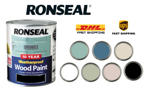 Ronseal 10 Year Weatherproof Wood Paint Satin-Gloss 2in1 No Primer Needed