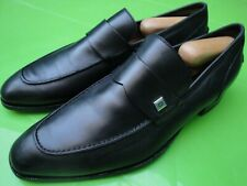 GUCCI AUTHENTIC BLACK LEATHER LOAFERS SILVER LOGO GG MENS SHOES US 10 UK 9 EU 43