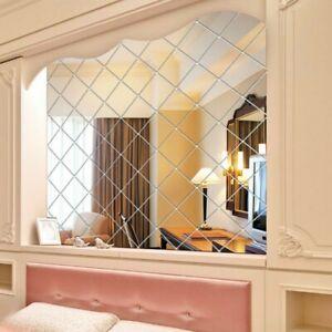 32x Klar Spiegelfliesen Wandspiegel Selbstklebend Aufkleber TV-Hintergrund