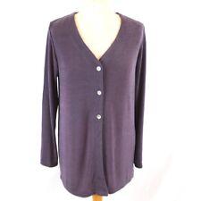 ROSE PEARL Women Slinky Cardigan 10 12 Purple Stretch Button Semi Sheer Vintage