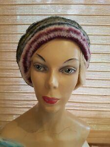 Vintage Scottish 100% wool striped tam beret hat