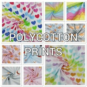 "Children's Polycotton Fabrics - Fun Designs 5 - Boy/Girl, 45""/115cm by the Metre"