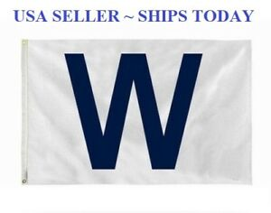 """Win """"W"""" flag White and Blue for Chicago Cubs Fans Fly The W Wrigley 3x5"""