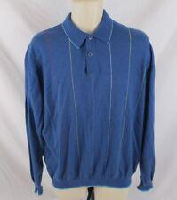 Bugatchi Uomo Mens Cashmere Blend Sweater Size XL Blue Striped Long Sleeve CB78O