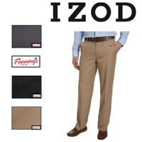 IZOD Men's Performance Stretch Flat Front Straight Dress Pant  VAR SIZE & E32
