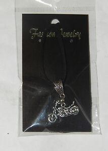Tibetan Silver Motorbike Pendant & Black Leather Necklace