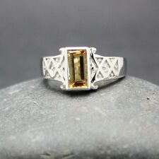 GENUINE CITRINE RING set in .925 STERLING SILVER  FAST FREE SHIPPING !!!