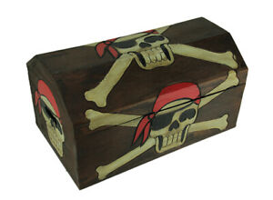 Scratch & Dent 19 Inch Long Wooden Pirate Skull Treasure Chest Storage Box