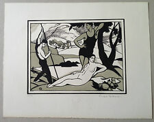 PICART LEDOUX Gravure sur bois art deco portrait de femme nue la baignade
