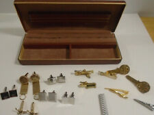 VINTAGE SWANK CUFF LINK LOT + TIE CLIP LOT + LORD ANDREWS JEWELRY BOX