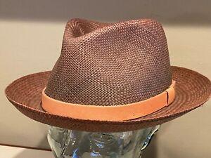 Bailey Of Hollywood Genuine Panama Gelhorn Hat  Straw Fedora 7 1/8  57cm  ~ NEW