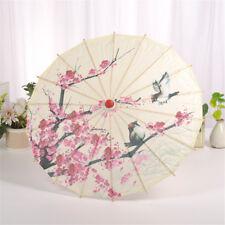 Chinese Silk Cloth Classical Art Umbrella Oil Paper Plum Blossom Retro Style CH
