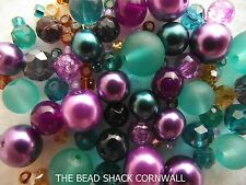 Jewellery Making Kit -Make a Necklace, Bracelet & Earrings-Teal & Purple-Peacock