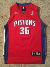 DETROIT PISTONS #36 Rasheed Wallace Jersey Adidas Red Blue NBA YOUTH sz M 10-12