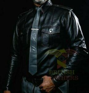 Men's Black Police Lederhemd Shirt Genuine Soft Lambskin Leather Cuir Schwarz