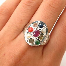 925 Sterling Vintage Diamond Multi-Color Gem Pearl Navaratna Men's Ring Size 10