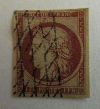 France n°6A 1849 ceres 1 f franc rouge brun papier brun oblitéré charniere