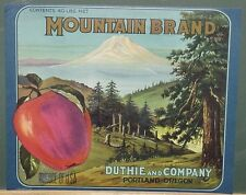 Mountain Brand Original 1920's-30's Apple Crate Label Duthie & Co. Portland, Or.