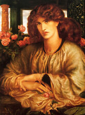 Oil painting Dante Gabriel Rossetti - the woman in the window with roses flowers