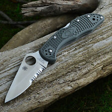 Spyderco Delica 4 Combo Edge Foliage Green FRN Knife C11PSFG