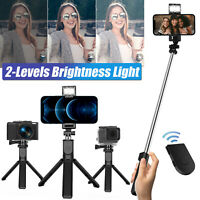 Extendable Wireless Tripod Selfie Stick Stand Remote For iPhone Samsung Gopro US