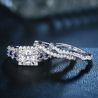 Newshe Engagement Wedding Ring Set 925 Sterling Silver 2.5ct Princess Cz Blue