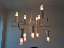 70er Jahre Decken-Lampe/Leuchter 12-flammig weiß Cosack/Leola Art