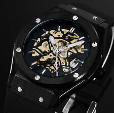 New Silver Hands Black Rubber Strap Skeleton Retro Mens Man Automatic Watch
