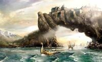 Home Art Wall Decor Viking Ship And Kingdom Oil painting Printed On Canvas