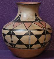 "Santo Domingo Indian Pueblo Pottery 1930's Polychrome Decorated Jar 9.5"" x 9"""