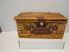 Woven Willow Suitcase Style Picnic Basket - With Lid