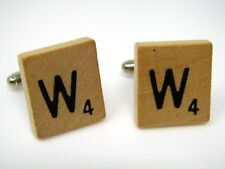 Cufflinks Jewelry: Letter W Wood Scrabble Tile