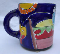 Desimone Coffee Cup Mug Italian Pottery Hand Painted Fisherman Sun Fish