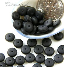 50 Coin Flat Spacer Discs, 6mm, Jet Black w/ Seaglass Finish, Czech Beads, 50 Pc