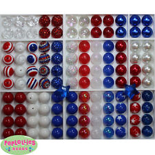 20mm Chunky Beads LOT 120 count  Gum Ball Bubblegum Patriot Red White Blue