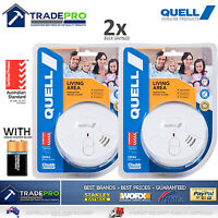 2x Smoke Alarm Fire Detector Chubb/Quell® Ionisation Aus Certified + 9vBatteries