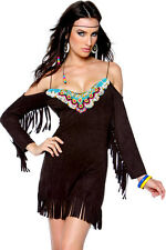 Ladies Pocahontas Red Indian Native Squaw Costume Beaded Black Dress Size 10-12