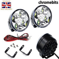 """CLEAR LED DRL Daytime Running Lights Lamps 70mm 2.75"""" Round SET + WIRING KIT"""