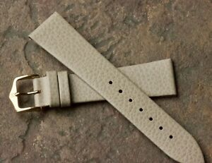 Cream color textured leather 20mm vintage watch band calf-lined Hirsch 1960/70s