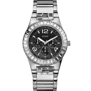 New  Authentic GUESS Women Silver-tone Bracelet  , black  face Watch U17511L1
