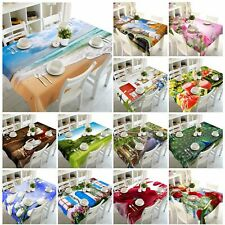 3D Sea Beach Flowers Peacock Tablecloth Rectangular Table Cover Cloth Home Decor