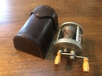 Vintage Used 1939 J.A. Coxe Model 15 Fishing Reel With Original Leather Case