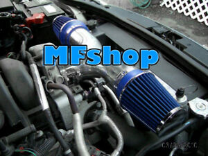 BLUE Dual For 2002-2003 Jeep Liberty 3.7L V6 Twin Air Intake System Kit