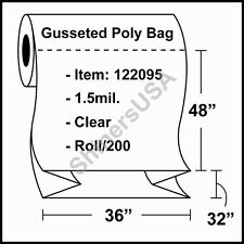 1.5 mil Gusseted Poly Bag 36x32x48 Clear FDA Approved Roll/200 (122095)