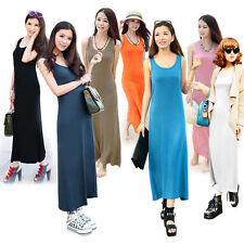 Sexy Womens Jersey Racer Back Sleeveless Solid Full Length Long Vest Maxi Dress