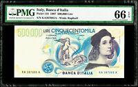 500,000 Lire 1997 Italy, Banca d'Italia Pick# 118 PMG 66 EPQ Gem Uncirculated