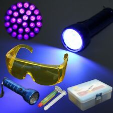 1 Set UV Leak Detector Car A/C System Fluid Gas+28 LED Light+Safety Glasses Set