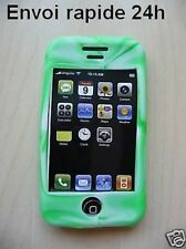 Cover case silicone green white iphone 3G 3gs + film
