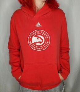 Adidas Atlanta Hawks NBA Red Hoodie Hooded Sweatshirt Women's Small EUC