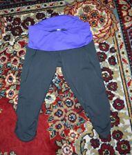 LULULEMON NOTHING TO HIDE CROP LEGGINGS BLACK FOLDOVER PURPLE WAISTBAND 6/S